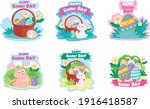 collection of easter bunny in... | Shutterstock .eps vector #1916418587