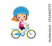 happy kids riding bikes  cute... | Shutterstock .eps vector #1916463737