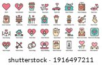 heart love icons line color set ... | Shutterstock .eps vector #1916497211
