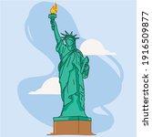 statue of liberty landmark in...   Shutterstock .eps vector #1916509877