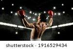 Boxer celebrating win on dark background. Sports banner. Horizontal copy space background