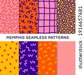 memphis pattern collection. set ... | Shutterstock .eps vector #1916657681