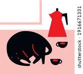 cartoon flat black cat sticker... | Shutterstock .eps vector #1916671331