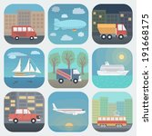 detailed transport app icons... | Shutterstock .eps vector #191668175