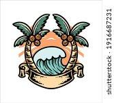 summer wave illustration vector ... | Shutterstock .eps vector #1916687231