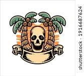 skull summer illustration... | Shutterstock .eps vector #1916687624