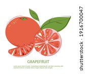 grapefruit slices and whole...   Shutterstock .eps vector #1916700047