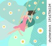 woman swinging on a swing ... | Shutterstock .eps vector #1916706134