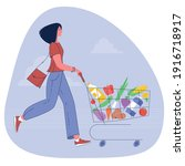 young woman pushing supermarket ... | Shutterstock .eps vector #1916718917