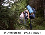 Hikers In The Mountains On A...