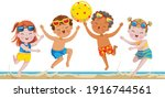 kids playing water volleyball... | Shutterstock .eps vector #1916744561
