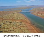 Aerial drone view of Odiel marshes in Huelva, Andalucia, Spain in the summer on a sunny day. Punta Umbria, Isla de Saltes