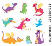 cute colorful little dragons... | Shutterstock .eps vector #1916864111