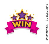 stars with win word in ribbon... | Shutterstock .eps vector #1916892041
