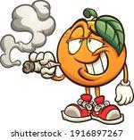 orange smoking with big smile... | Shutterstock .eps vector #1916897267