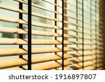 Small photo of close-up bamboo blind, bamboo curtain, chick, Venetian blind or sun-blind - soft focus point