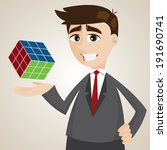 illustration of cartoon businessman with finish rubik