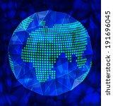 vector blue polygonal globe... | Shutterstock .eps vector #191696045