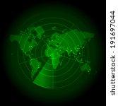 green world map with a radar... | Shutterstock .eps vector #191697044