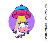 cute cow sucked in ufo...   Shutterstock .eps vector #1916992241