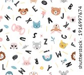 cute seamless pattern with cute ... | Shutterstock .eps vector #1916997674