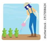 the woman water the plants...   Shutterstock .eps vector #1917008624