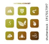 nine natural icons in one set...