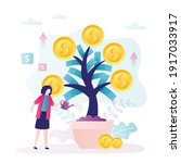 business woman grows money tree.... | Shutterstock .eps vector #1917033917