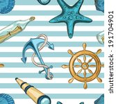 nautical striped seamless... | Shutterstock .eps vector #191704901