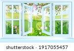 spring open house window frame... | Shutterstock .eps vector #1917055457