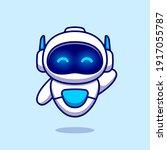 cute robot waving hand cartoon...   Shutterstock .eps vector #1917055787
