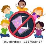 illustration of stickman kids... | Shutterstock .eps vector #1917068417