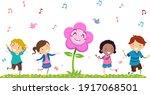 illustration of stickman kids... | Shutterstock .eps vector #1917068501