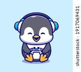 cute penguin gaming cartoon...   Shutterstock .eps vector #1917069431