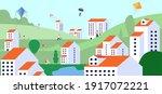 family in city park. spring... | Shutterstock .eps vector #1917072221