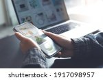 online shopping on laptop and...   Shutterstock . vector #1917098957