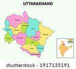 uttarakhand map. showing state... | Shutterstock .eps vector #1917135191