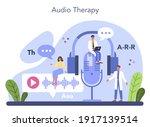speech therapist concept. audio ... | Shutterstock .eps vector #1917139514