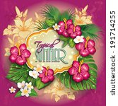 label with  tropical floral... | Shutterstock .eps vector #191714255