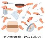hands preparing food. cooking... | Shutterstock .eps vector #1917165707