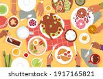 lunch top view. cartoon group... | Shutterstock .eps vector #1917165821