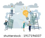 teamwork concept with tiny... | Shutterstock .eps vector #1917196037