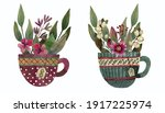 Watercolor Set With Cups Flowers
