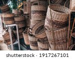 Rattan baskets and other handicrafts for sale at Dapitan Arcade, Quezon City, Philippines.