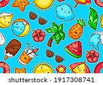 seamless pattern with summer... | Shutterstock .eps vector #1917308741