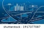 future city transportation... | Shutterstock .eps vector #1917377087
