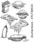 set of illustrations or... | Shutterstock . vector #191738414