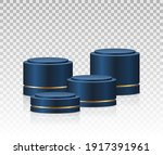 blue podiums. realistic... | Shutterstock .eps vector #1917391961