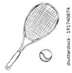 vector sketch tennis racket and ... | Shutterstock .eps vector #191740874