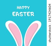 happy easter card with rabbit... | Shutterstock .eps vector #1917424604